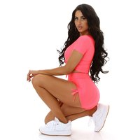 2 pcs womens jogging sport set shirt+shorts neon-coral