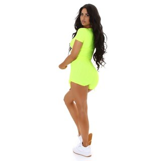2-teiliges Damen Jogging Sport-Set Shirt+Shorts Neon Gelb
