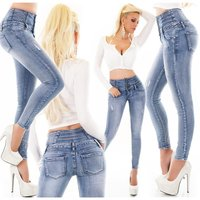 Skinny Damen High Waist Röhrenjeans Destroyed-Look Blau