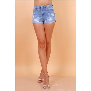 Sexy Damen Jeans Hotpants Shorts Destroyed-Look Hellblau