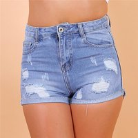 Sexy womens jeans hot pants shorts destroyed look light blue