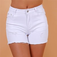 Sexy womens distressed stretch jeans hot pants shorts white