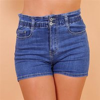 Damen Stretch Jeans Hotpants Shorts mit Elastikbund Blau