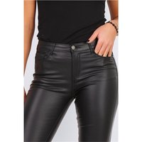Sexy Damen Skinny Jeans in Leder-Look Wetlook Schwarz