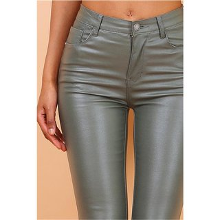 Sexy Damen Skinny Jeans in Leder-Look Wetlook Khaki
