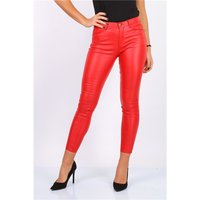 Womens skinny jeans in leather look wet look red