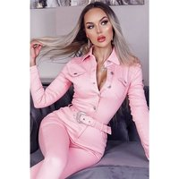 Slim-fit womens long sleeve jeans jumpsuit with belt pink