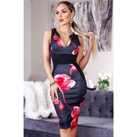 Skinny sleeveless panel dress with floral pattern black