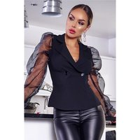 Elegant womens blazer jacket with organza sleeves black