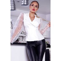 Elegant womens blazer jacket with organza sleeves...