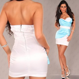 Sexy satin bandeau dress sheath dress turquoise/white