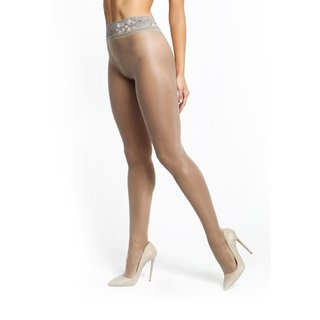 Shiny womens open crotch tights with lace top grey