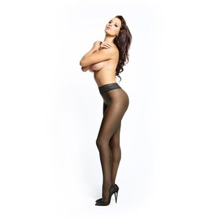 Shiny womens open crotch tights with lace top black UK 8/10 (S/M)