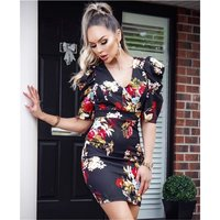 Sexy puffed sleeve bodycon dress with floral print black