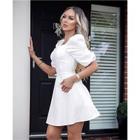 Sexy A-line dress short with puff sleeves white