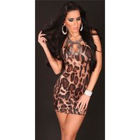 SEXY MINIDRESS PARTY DRESS WITH SEQUINS LEO-BROWN