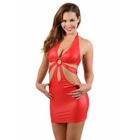 Sexy womens halterneck club mini dress in wet look red