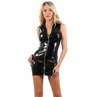 Short bodycon vinyl club mini dress in latex look black