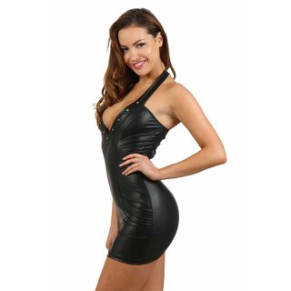 Sexy wet look club mini dress with mesh and rhinestones black