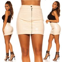 Sexy womens vinyl miniskirt zipper latex look clubwear beige