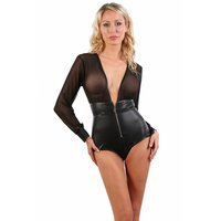 Transparent womens wet look body with mesh black