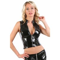 Sleeveless womens vinyl shirt with zipper clubwear black