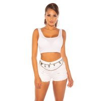 Sexy womens summer basic crop tanktop white