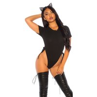 Sexy womens gogo high-cut bodysuit with lacing black