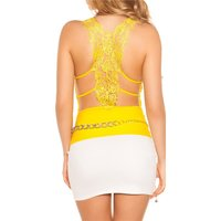 Sexy strappy top with embroidery yellow Onesize (UK 8,10,12)