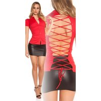 Womens short-sleeved blouse with lacing at back red