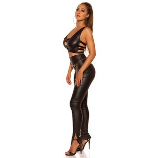 Sexy Damen Gogo Crop-Top in Wetlook Clubwear Schwarz