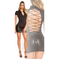 Womens short-sleeved blouse with lacing at back black UK...