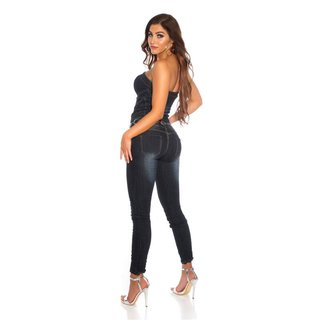 Sexy womens bandeau jeans jumpsuit overall dark blue