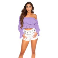 Cropped summer flare sleeve Bardot top with frills lilac