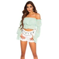 Cropped summer flare sleeve Bardot top with frills mint...