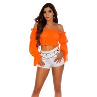 Bauchfreies Sommer Off-Shoulder-Top mit Rüschen Neon Orange