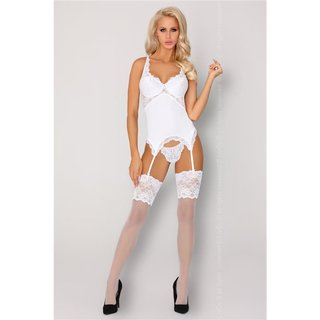 Womens 2 pcs garter chemise set with lace underwear white
