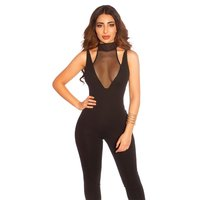 Skinny womens jumpsuit with transparent mesh black