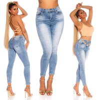 Damen High Waist Röhrenjeans Used-Look Blau