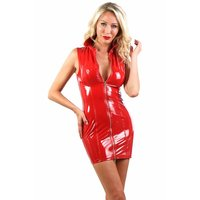 Short bodycon vinyl club mini dress in latex look red