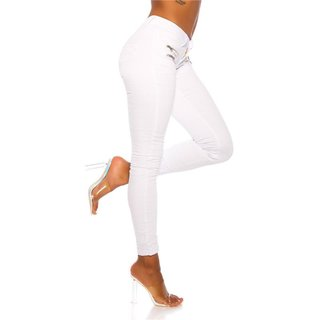 Skinny womens crashed look jeans with zips white