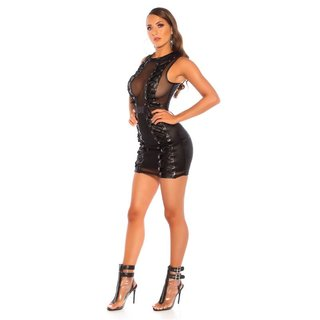 Sexy wet look club mini dress with lacings and mesh black