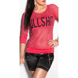 Sexy fishnet shirt with print BULLSHIT clubwear red