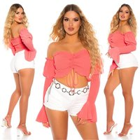 Sexy Damen Off-Shoulder Latina Crop-Top Langarm Coral