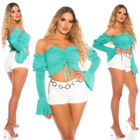 Sexy Damen Off-Shoulder Latina Crop-Top Langarm Mintgrün