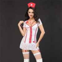 Sexy 5 pcs nurse outfit costume gogo white/red