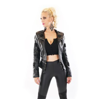 Womens faux leather jacket with skull at the back black