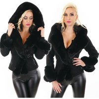 Womens winter jacket in buckskin look with faux fur black