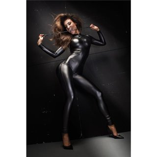 Womens clubwear jumpsuit catsuit with zipper wet look black