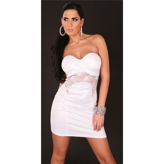 Sexy bandeau mini dress with lace wet look clubwear white